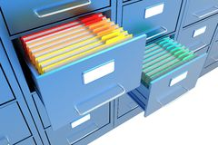 Folders in the file cabinet. Folders in the open file cabinet Stock Images