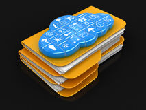 Folders and files with cloud. Image with clipping path Royalty Free Stock Photos