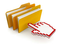 Folders with files and cursor (clipping path included) Royalty Free Stock Photography