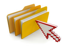 Folders with files and cursor (clipping path included) Royalty Free Stock Images