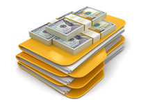 Folders and files with dollars. Image with clipping path Stock Photos