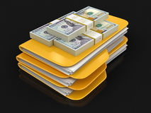 Folders and files with dollars. Image with clipping path Royalty Free Stock Image