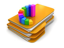 Folders and files with Graph. Image with clipping path Royalty Free Stock Photography