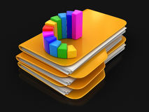 Folders and files with Graph Stock Photo