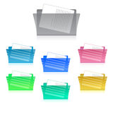 Folders and Files Icon Set. Colorful Folders and Files Icons Set Royalty Free Stock Image