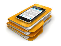 Folders and files with Touchscreen smartphone Stock Photos