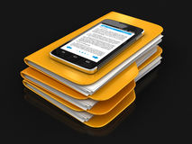 Folders and files with Touchscreen smartphone Stock Images