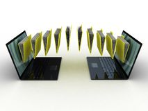 Folders  fly into your laptop. 3D images Stock Photos