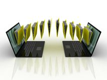 Folders  fly into your laptop. 3D images Stock Photography