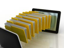 Folders  fly into your tablet. 3D images Royalty Free Stock Photography