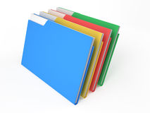 Folders four. Color folders with documents on white background Stock Photography
