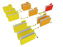 Folders hierarchy. Different levels of organization structure Stock Photo