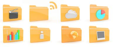 Folders Icon. Folders with content icon on wite background Stock Photo
