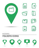 Folders icons with pointers. Folders icons with different types of pointers Royalty Free Stock Photo