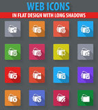 Folders icons set. Folders web icons in flat design with long shadows Royalty Free Stock Images