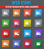 Folders icons set. Folders web icons in flat design with long shadows Stock Image