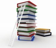 Folders and ladder. Conception of career advancement Royalty Free Stock Images