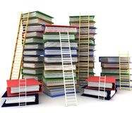 Folders and ladders. Conception of career advancement Stock Photo