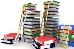 Folders and ladders. Conception of career advancement Royalty Free Stock Image
