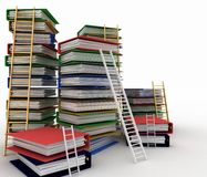 Folders and ladders. Conception of career advancement Royalty Free Stock Images