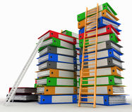 Folders and ladders. Conception of career advancement. 3d illustration on white background Stock Images