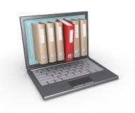Folders through laptop Stock Photography