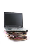 Folders with laptop Computer Royalty Free Stock Photo