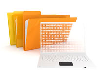 Folders and laptop Royalty Free Stock Photography