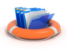 Folders in a lifebuoy. Blue folders in a lifebuoy. Files rescue. 3d illustration Stock Photo