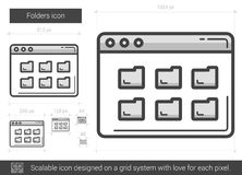 Folders line icon. Royalty Free Stock Photography