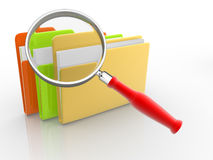 Folders and magnifying glass Stock Photography