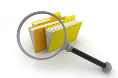 Folders and magnifying glass Royalty Free Stock Images