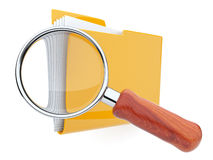 Folders and magnifying glass. File search. 3D Stock Photography
