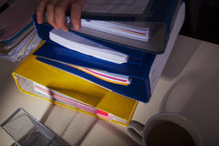 Folders on Office Desk Stock Image