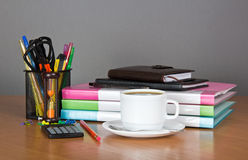 Folders, organizer, notepad, office accessories Stock Image