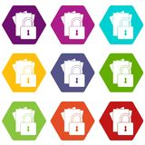 Folders with padlock icon set color hexahedron Royalty Free Stock Photo