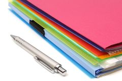 Folders,paper and pen Royalty Free Stock Images