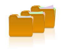 Folders with papers. An illustration three folders and some papers inside it Stock Image