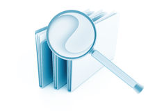 Folders with papers under magnifier stock illustration