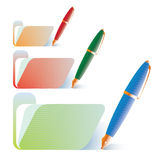 Folders and pens Royalty Free Stock Images