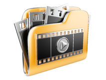 Folders with a play button and film strip. 3d illustration isolated on a white Royalty Free Stock Photo