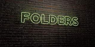 FOLDERS -Realistic Neon Sign on Brick Wall background - 3D rendered royalty free stock image Royalty Free Stock Photo