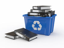 Folders in recycle bin. 3d. Folders in recycle bin on white background. 3d Royalty Free Stock Images