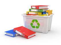 Folders in recycle bin. 3d. Folders in recycle bin on white background. 3d Stock Photography