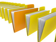 Folders in row. One folder standing out of row vector illustration