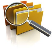 Folders search. 3d illustration of documents folders with magnify glass Stock Photos