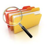 Folders search 3d icon. Folders under the magnifier isolated on white Royalty Free Stock Photo
