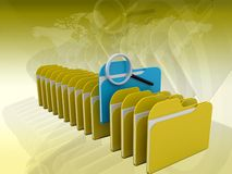 Folders search 3d icon. On a color background Stock Photo