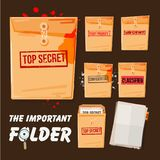 Folders set with different stamp text come with blank document. Top secret, confidential, urgent and high priority - vector illustration Stock Photos