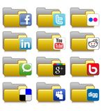 Folders Set - Social Net Application Folders 05. Set of icons for web, media etc... concerning famous social network logo Eps file is available. Illustration 05 Stock Image